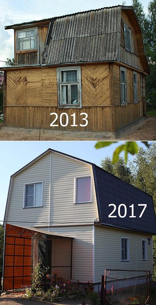 Старый дом Татьяны Ивановны и новый дом, который мы построили для нее всем миром.