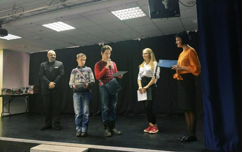 На фото: Александр Карцев., Алексей Вишняков, Дима Локтонов, ведущая и Елена Ходатай