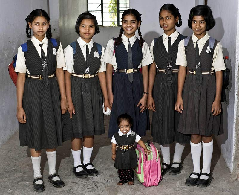 14-year-old Jyoti Amge - the worlds shortest girl at 1ft 11in