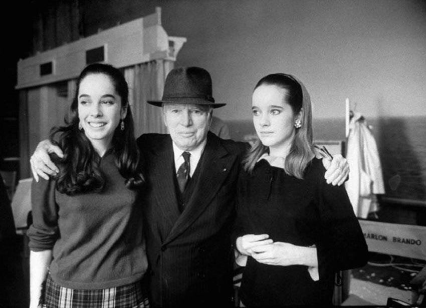Чарли Чаплин с дочками Джозефиной и Викторией 1966 год
