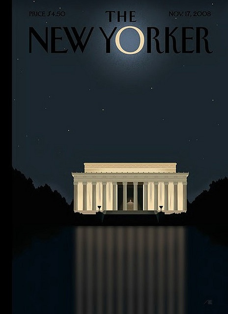 New Yorker cover-Reflection - Barack Obama Victory Cover 2008 by Bob Staake