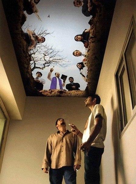 Дизайн потолка в комнате для курения.