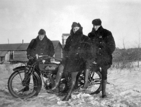 Alberta Provincial Police winter motorcycle squad in Drumheller during a labour dispute, ca1923
