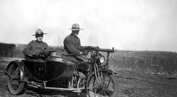 APP motorcycle and sidecar used during labour disputes in the Drumheller area, ca1923 -1