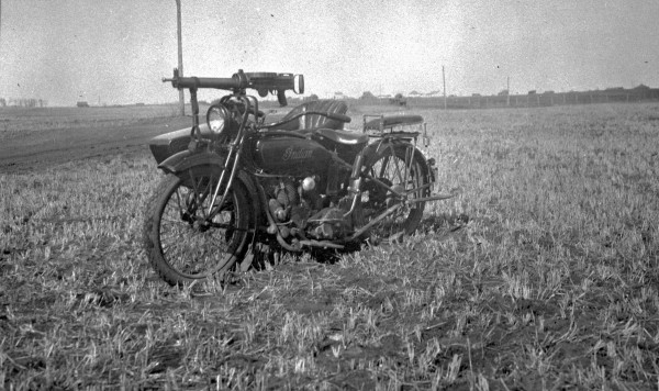 APP motorcycle and sidecar used during labour disputes in the Drumheller area, ca1923 -2