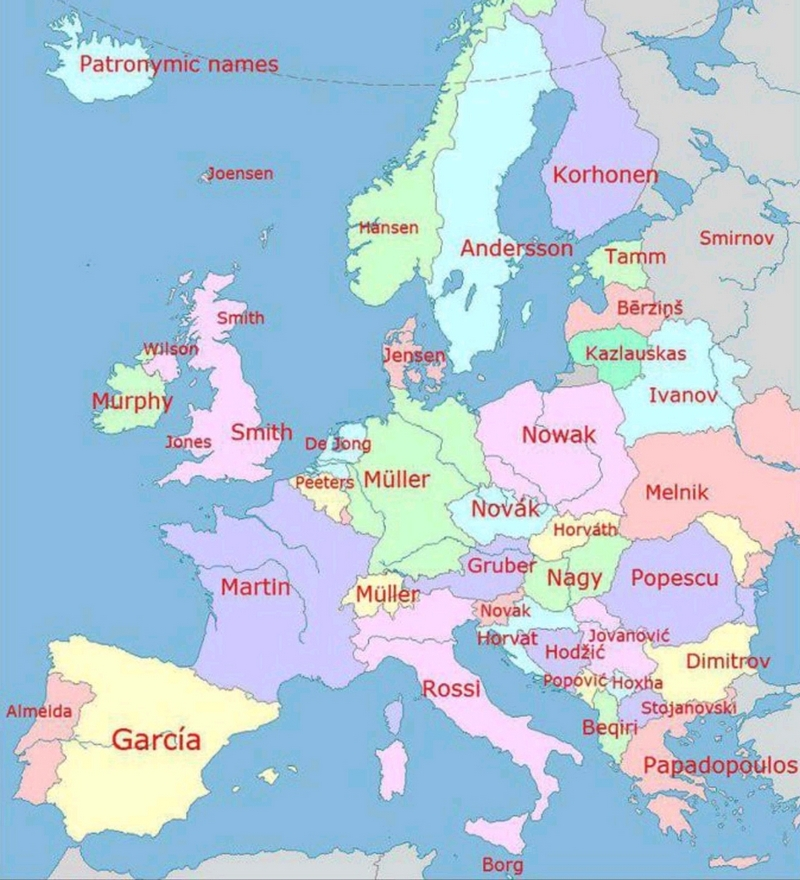 самые популярные фамилии в Европе 800