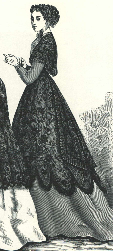 dress w lacce over-skirt & Marie Antoinette fichu_HB 1868