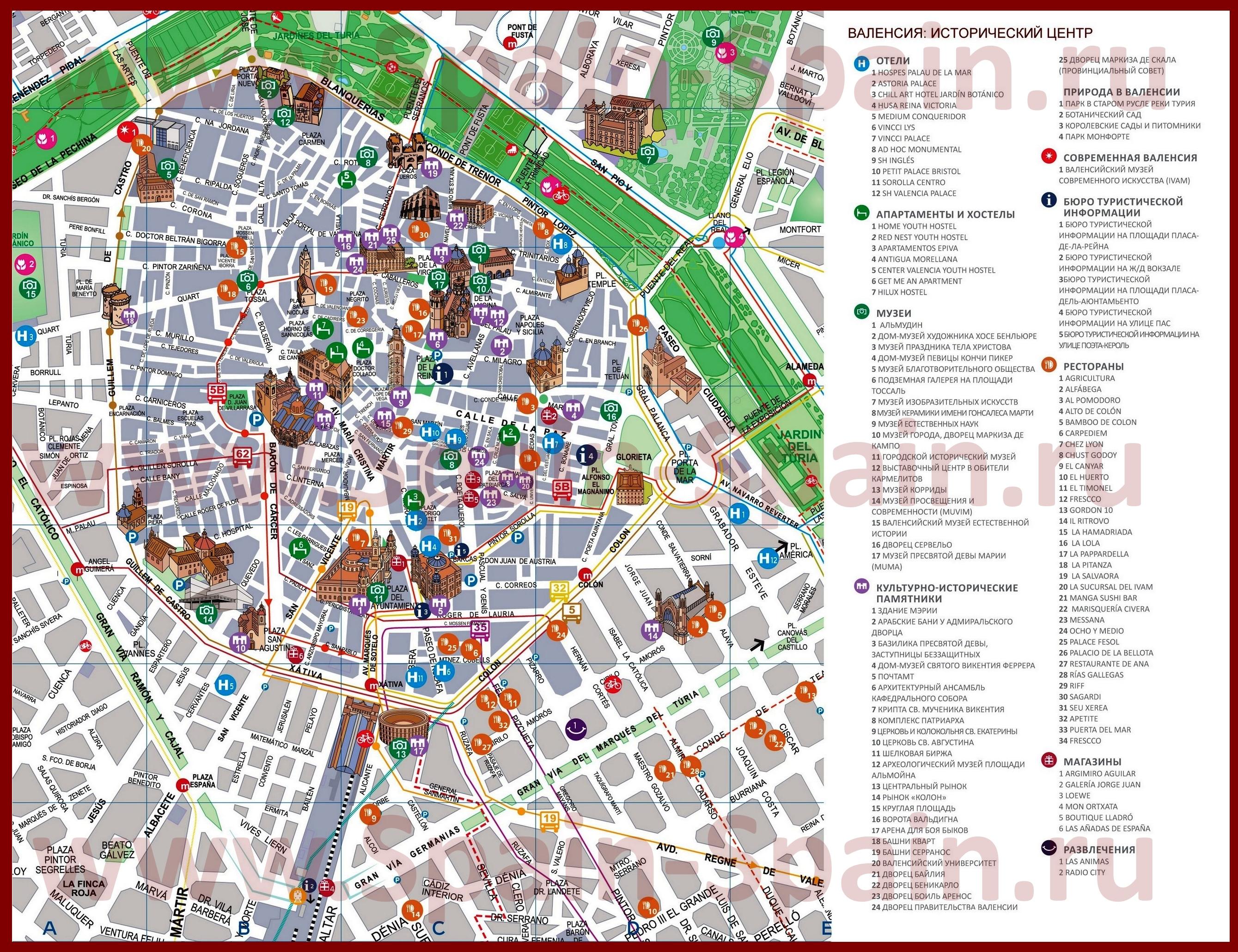 Карта аликанте с улицами на русском языке с достопримечательностями