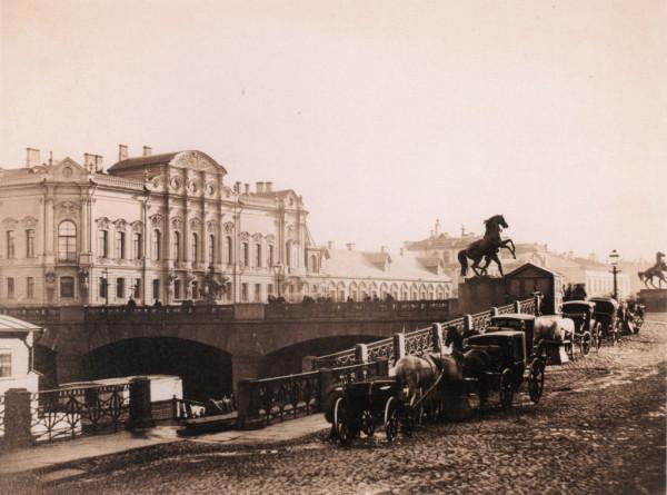 Вид на Аничков мост и дворец Белосельских-Белозерских,1880