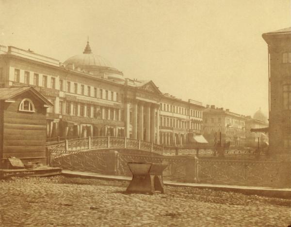 Голландская церковь на Невском проспекте,вид от Полицейского моста,1856