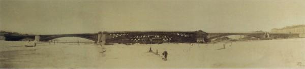 Панорама строительства Литейного моста. Установка арки среднего пролета 15 марта 1879 года в два с половиной часа пополудни. 15 марта 1879