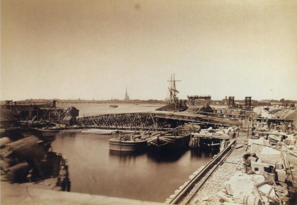 Строительство Литейного моста.Выборгский устой и бык N 4. 1 июля 1878