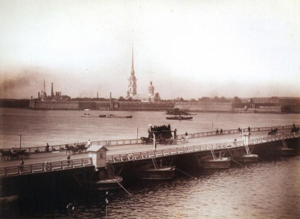 Троицкий мост и панорама Невы, 1880-е