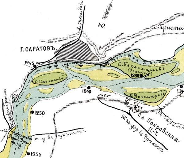 Карта Волги в районе Саратова. 1901 год