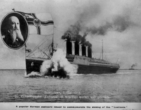 Популярная немецкая открытка иллюстрирующая потопление Лузитании