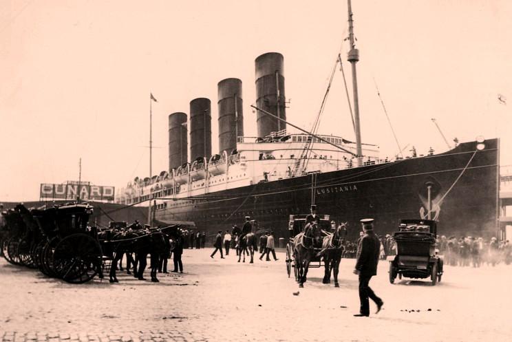 Первое прибытие Лузитании в Нью-Йорк. 1907 год