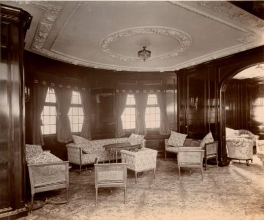 Салон 1-го класса Лузитании на верхней палубе