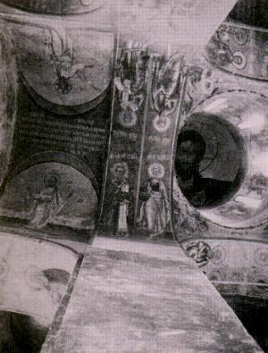 Фрески на сводах Троицкого собора Макарьева Калязинского монастыря. Фот. 1930-х гг.