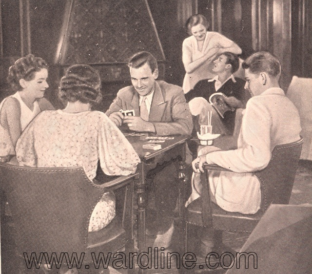 Morro Castle. Cards in the Smoking Room, Circa 1933