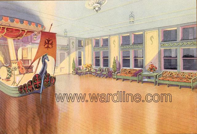 Рисунки интерьеров Morro Castle из рекламного проспекта компании Ward Line. First Class Deck Ballroom