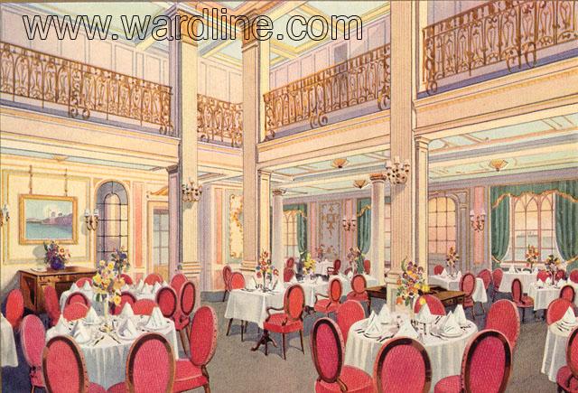 Рисунки интерьеров Morro Castle из рекламного проспекта компании Ward Line. First Class Dining Room