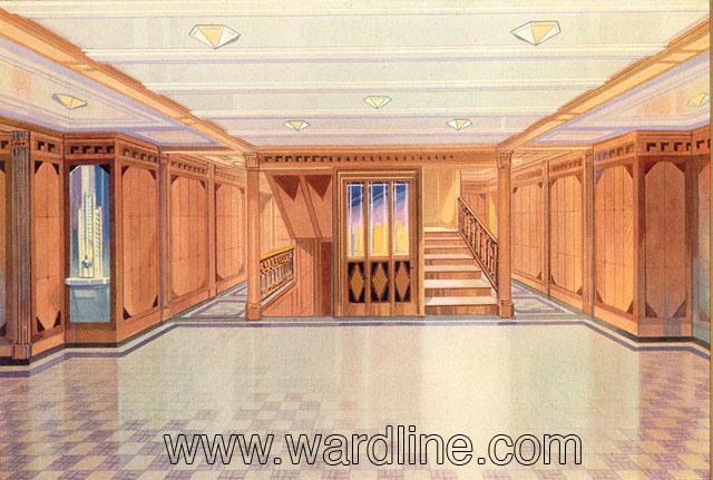 Рисунки интерьеров Morro Castle из рекламного проспекта компании Ward Line. First Class Forward Lobby