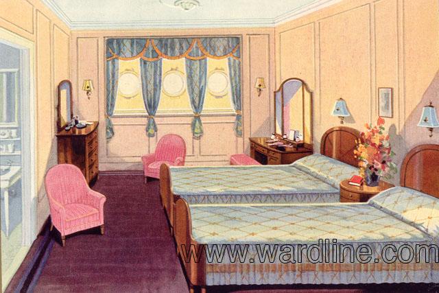Рисунки интерьеров Morro Castle из рекламного проспекта компании Ward Line. First Class Suite 106