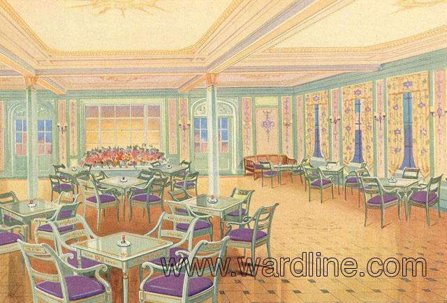 Рисунки интерьеров Morro Castle из рекламного проспекта компании Ward Line. First Class Tea Room