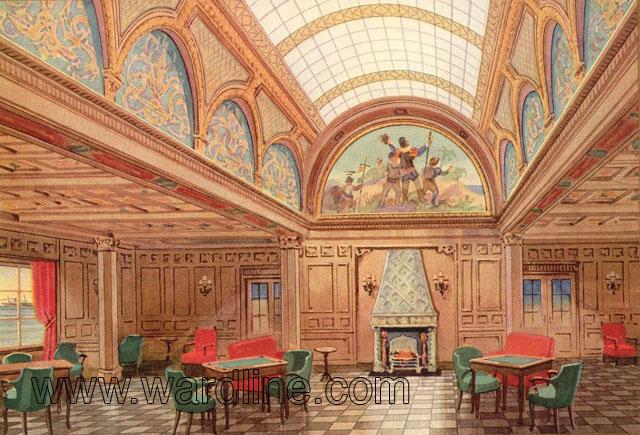 Рисунки интерьеров Morro Castle из рекламного проспекта компании Ward Line..First Class Smoking Room,