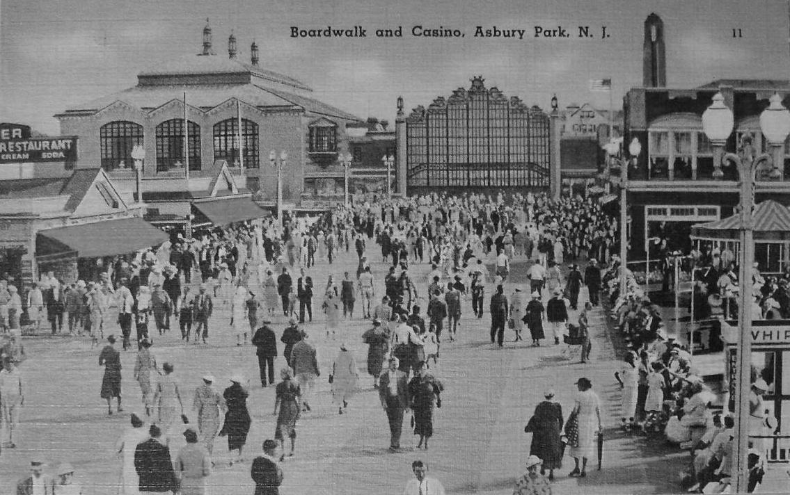 1930s Vintage Postcard ASBURY PARK CASINO Boardwalk Linen Print NEW JERSEY afternoon