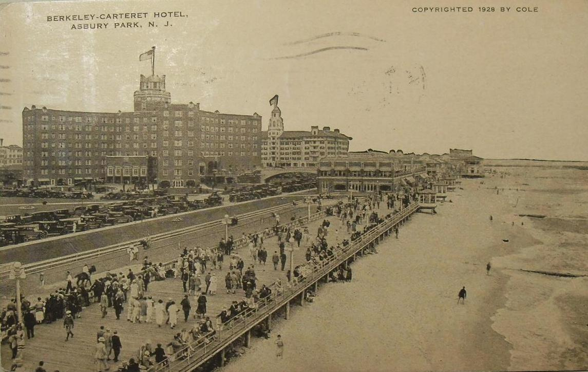 1920s BERKELEY CARTERET HOTEL Boardwalk 1928 ASBURY PARK NEW JERSEY