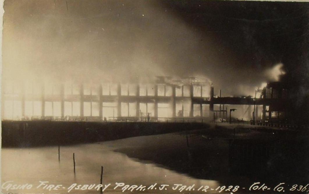 ASBURY PARK CASINO FIRE 12 January 1928 REAL PHOTO VINTAGE POSTCARD