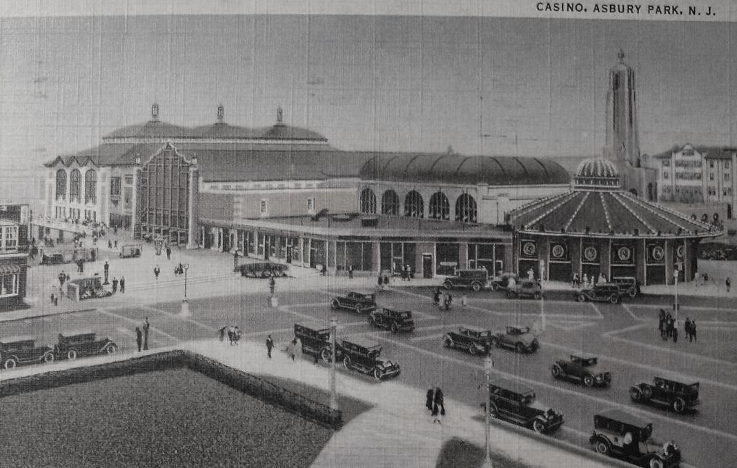 1930s Vintage Postcard ASBURY PARK CASINO and CAROUSEL HOUSE From Inland NEW JERSEY