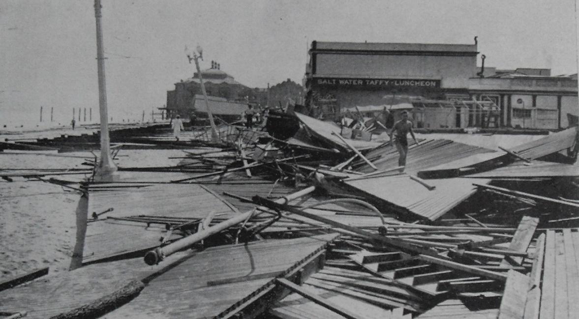 ASBURY PARK CASINO Boardwalk Damage after Hurricane 14 September Pavilions 1940s NEW JERSEY