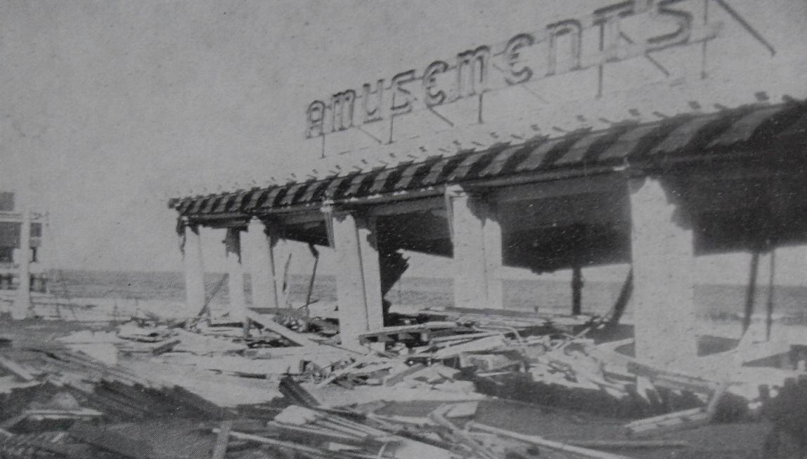 1944 Vintage Postcard ASBURY PARK AMUSEMENTS PAVILION Boardwalk Damage after Hurricane 14 September 1940s NEW JERSEY