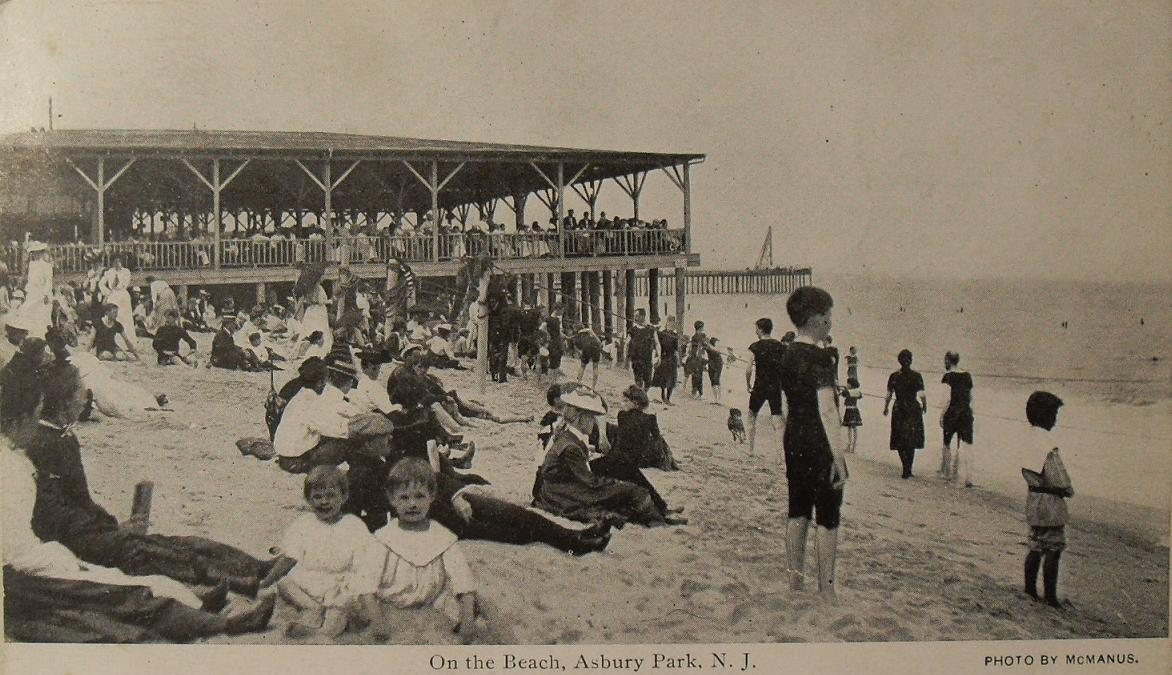1900s Vintage Postcard ASBURY PARK Beach Children Adults Bathing Suits NEW JERSEY