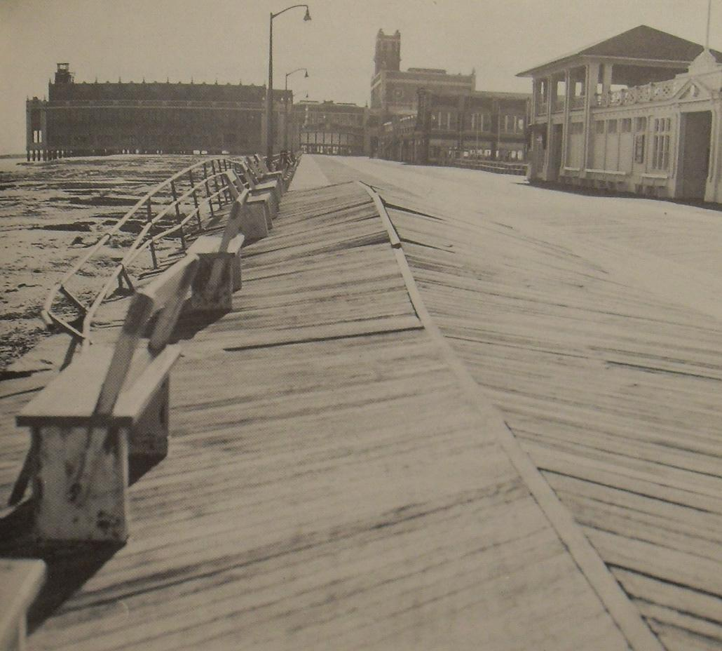 1953 ASBURY PARK CONVENTION HALL Boardwalk Damage after Southeaster Storm vintage photo black and white