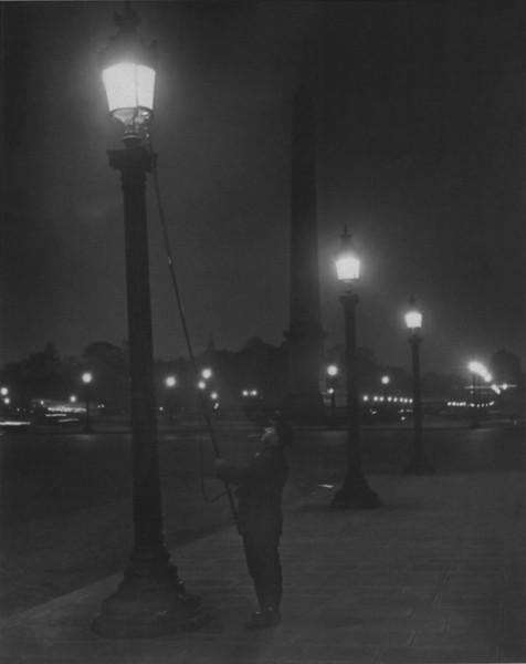Brassaï, Lighting the Lamps, Place de la Concorde, ca. 1932-1933