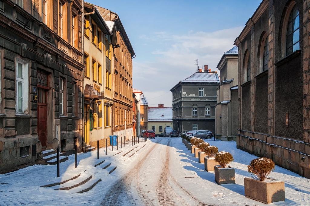 Зимняя улочка в  Бельско-Бяла