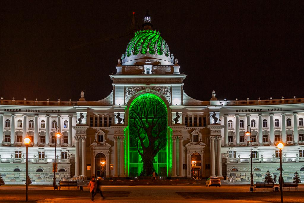 Дворец Земледельцев в городе Казань, ночной вид, фотография ночью