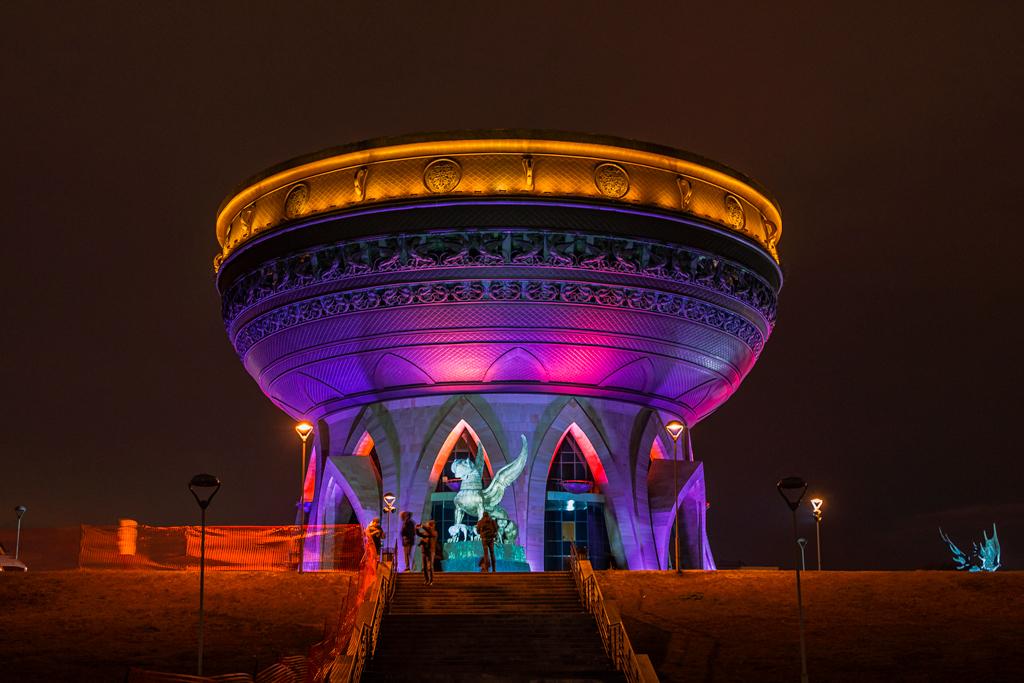 ЗАГС Казань и Зиланты, вид ночью, ночная фотография с подсветкой