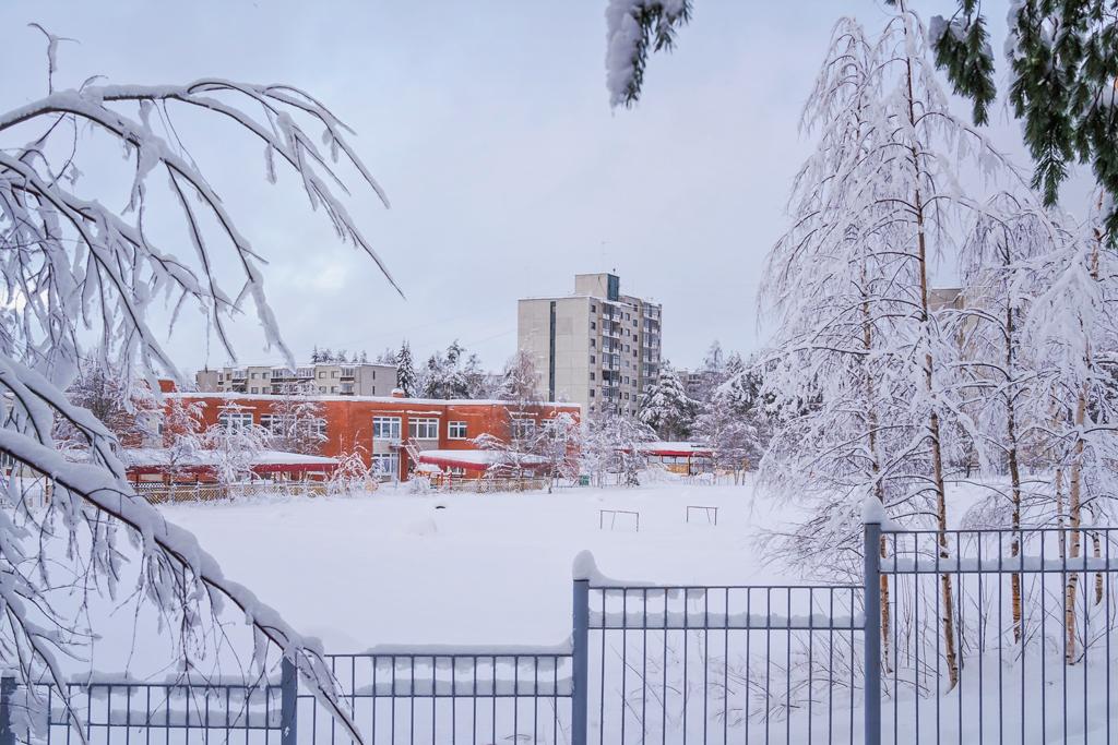 Улица Первомайская в Костомукше зимой