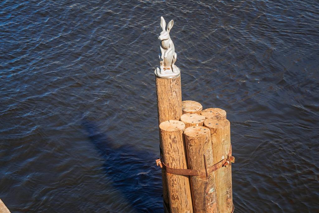 Скульптура и памятник заяц на сваях у Заячьего острова у Иоанновского моста у Петропавловской крепости