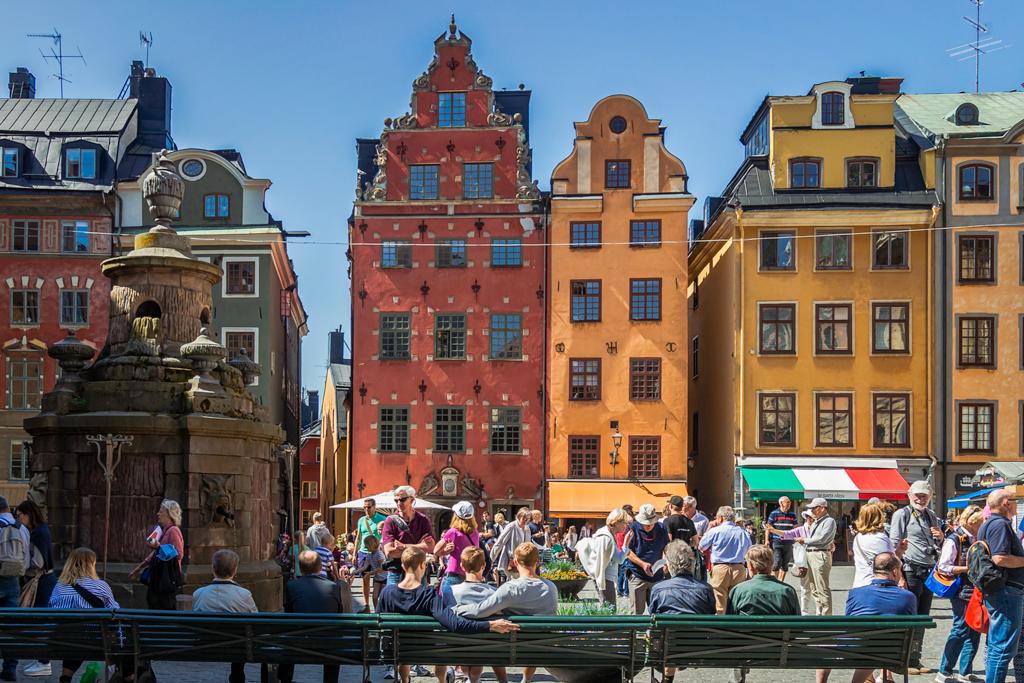 Дом на главной площади с камнями невинно убиенных душ в Стокгольме
