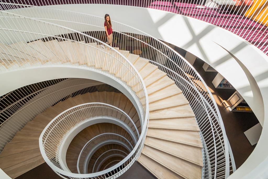 Крутая лестница внутри библиотеки в доме «Кайса»