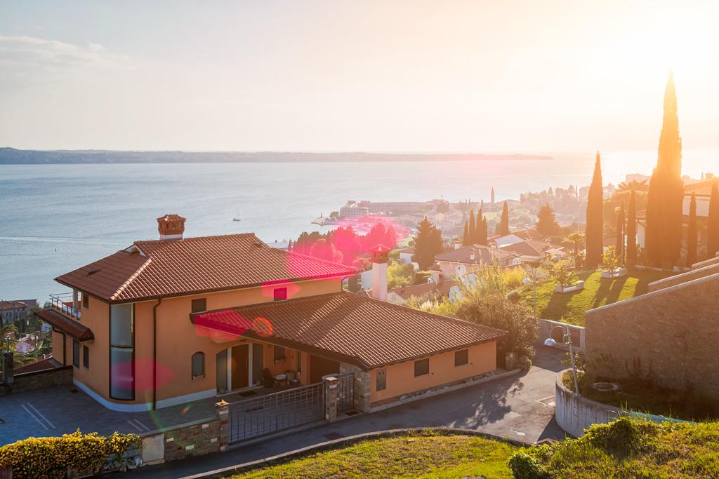 аренда дома в Пиране и Словении, закат Порторож