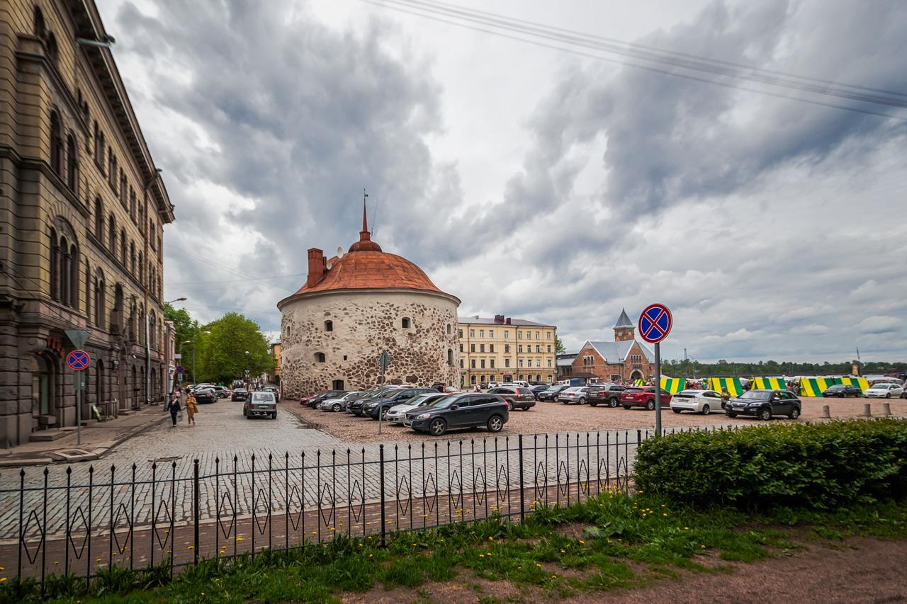 Круглая башня и рыночная площадь. Выборг