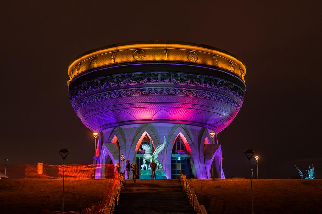 Казанский ЗАГС в Казани ночью, подсветка