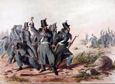 Incident in Crimea -- A party of ten men of the 33rd [(or The Duke of Wellington's) Regiment] encounter a dozen Russians. Both sides having expended all their ammunition, resort to throwing stones.