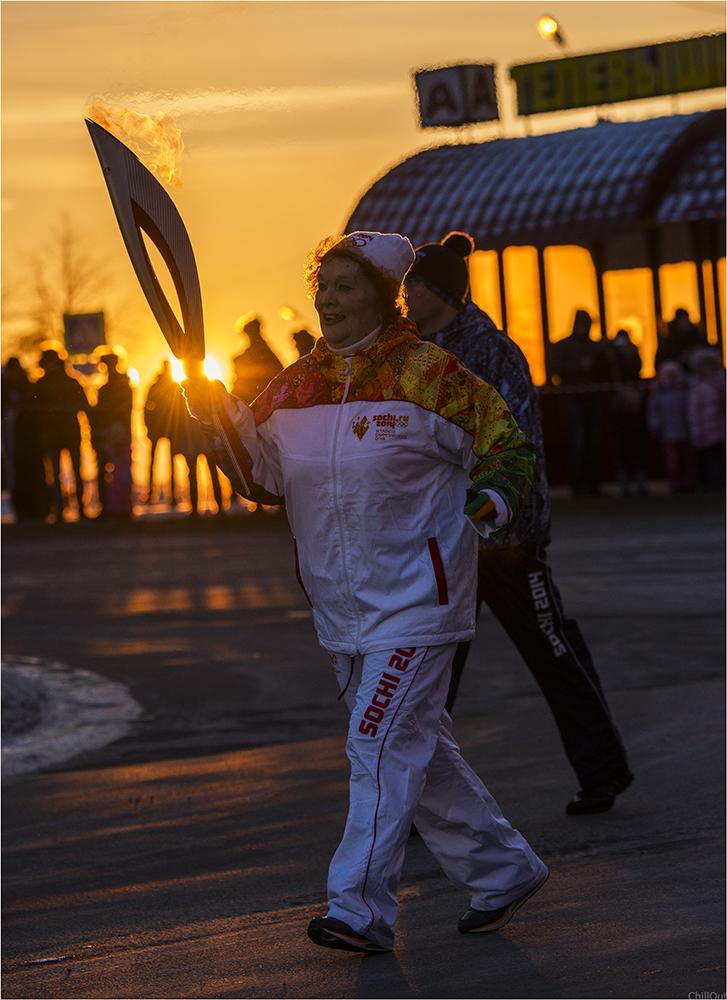 Эстафета олимпийского огня в Магадане. Фото: Дмитрий Малышев